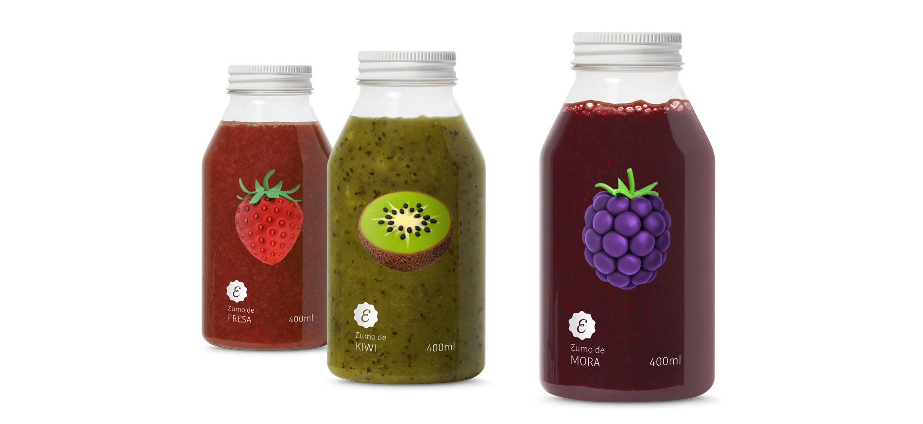 Diseño del Packaging de Smoothies de Exquisitio por Puigdemont Roca Design Agency