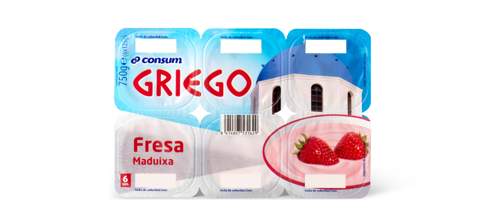 Diseño del Packaging de Yogures Griegos de Supermercados Consum por Puigdemont Roca Design Agency