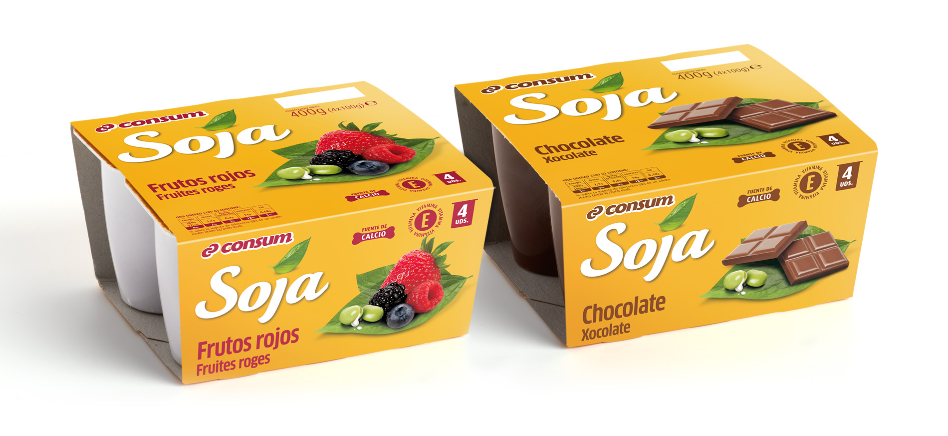 Diseño del Packaging de Yogures de Soja de Supermercados Consum por Puigdemont Roca Design Agency
